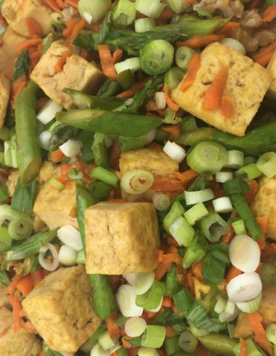 vegan tofu stir fry with honey ginger sauce